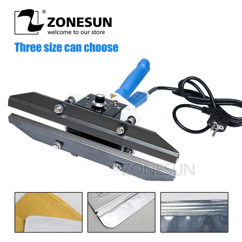 ZONESUN Manual Impulse Almumin Foil Bag Heat Sealing Machine Sealer Packaging Equipment Width 200mm Electric Packaging