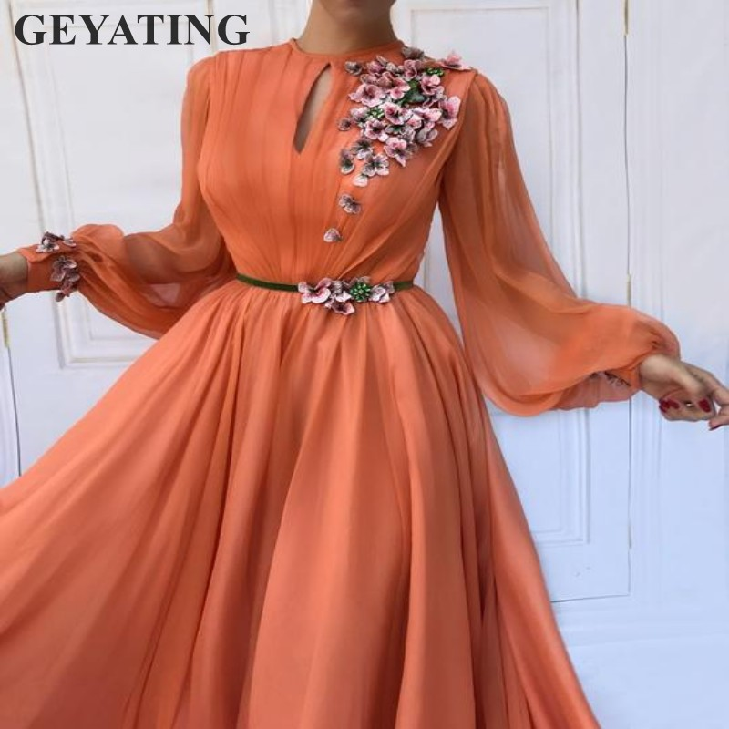 Orange Long Sleeves Women   Evening     Dress   2019 Vestido ano novo Elegant Long Formal Party Dinner Gowns Embroidery Pink Flowers