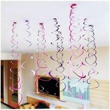 Happy Birthday Decorative 6pc/pack Metallic Ceiling Hanging Swirl for Baby Shower Wedding Halloween Birthday Party Decoration