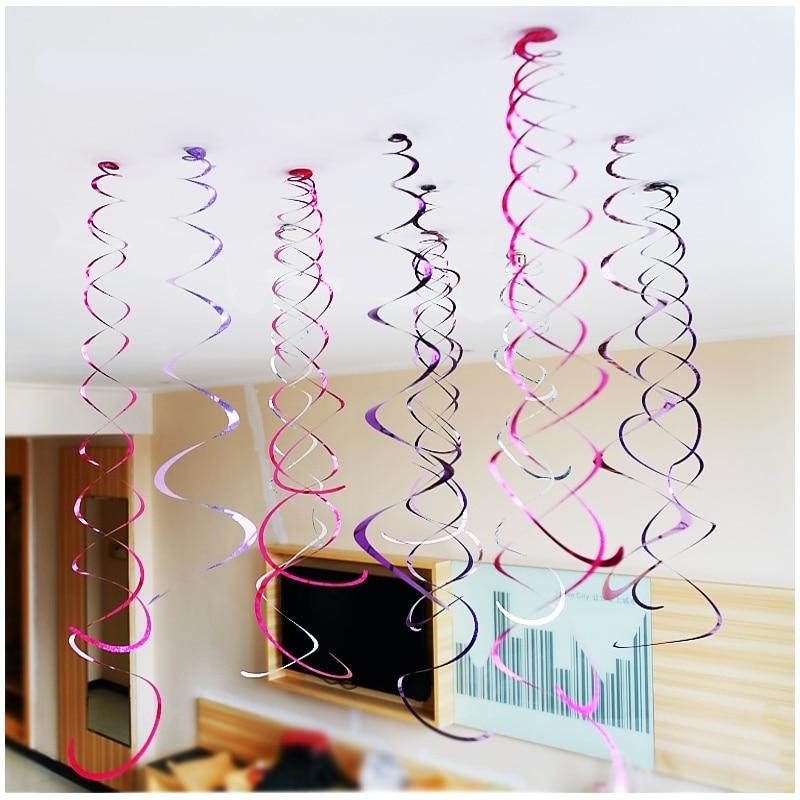 Wszystkiego najlepszego z okazji urodzin dekoracyjne 6 sztuka/paczka metalowe sufitowe wiszące wirować na Baby Shower ślubne dekoracje na przyjęcie urodzinowe z motywem halloween