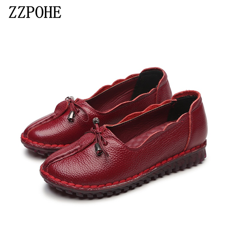ZZPOHE Women Shoes Spring autumn new Genuine Leather Flat Shoes Woman Fashion soft bottom Single Shoes Casual mother shoes 2018 new women s shoes spring autumn fashion loafers women flats genuine leather single shoes soft casual flat shoes size 43 44