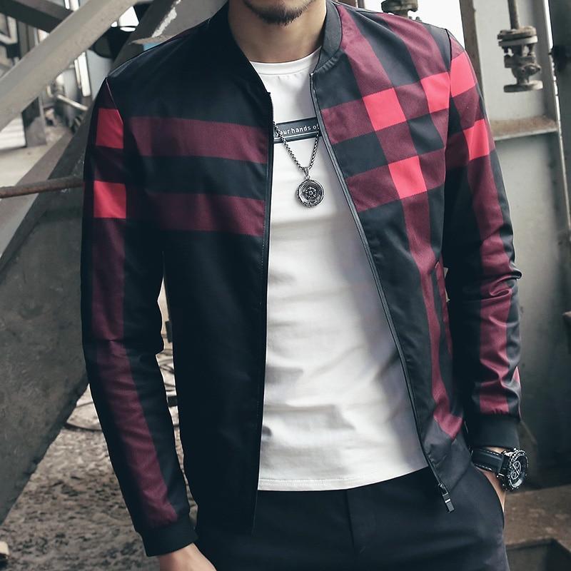 93a193895 Aliexpress.com : Buy New Brand Baseball Collar Jacket Men Plaid Fashion  2018 Mens Bomber Jackets For Men Autumn Style Active Windbreaker Coat Male  ...