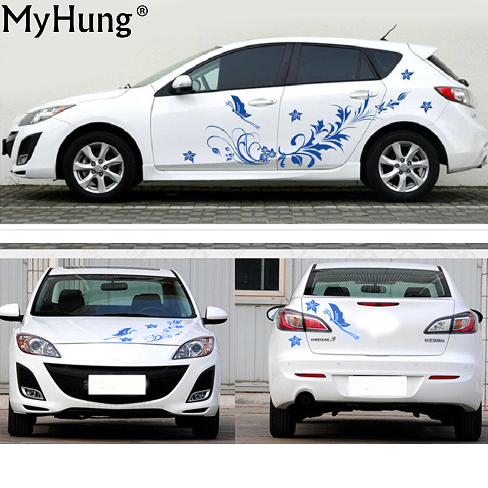 Car sticker flower design - Stickers For Universal Cars Natural Flower Vine Dragonfly Shape Whole Car Body Decals Car Stickers Fashion