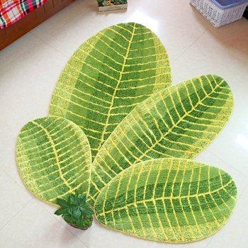Alfombrilla de baño con diseño de hojas verdes Alfombra antideslizante para sala...