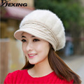 [Dexing]Fur caps woman Elegant fashion female women hats Winter cap Fall Autumn Beanies Knitted Hat Rabbit Skullies