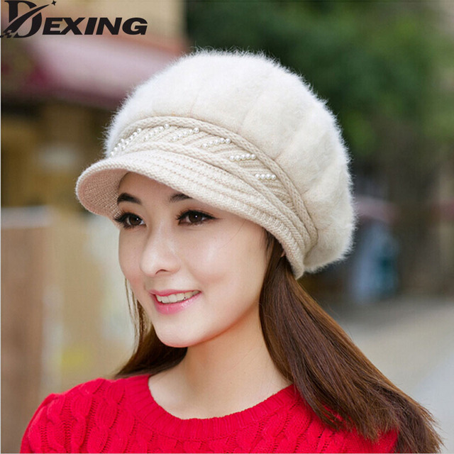 [Dexing]Fur caps woman Elegant fashion female women hats Winter cap Fall Autumn Beanies Knitted Hat Rabbit Skullies