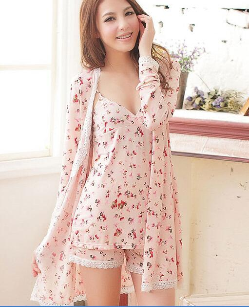 2018 Pyjamas gilet women spaghetti strap robe shorts sexy sleepwear lounge temptation set Spring Summer