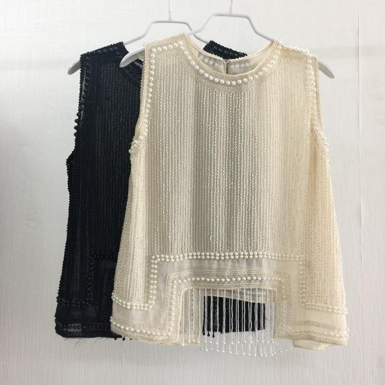 Haute couture perles perles pull o-cou femmes mode Tee Top exquis à la main perles haut