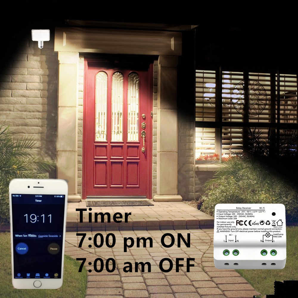 Tuya Smart Life WiFi Light Switch Alexa Echo, Google Home Voice Control,  10A, Remote Control Light by App, Set Timer for Lamp