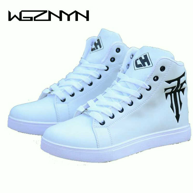 Spring Men's Shoes Korean Version Of The Trend Of High-top Shoes Men's White Casual Wild Shoes Zapatillas Hombre Deportiva W409