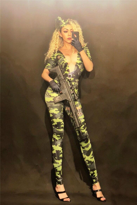 Scène Nouveau Stretch Sexy Vêtements Skinny Chanteuse Combinaison Body Performance Camouflage Grand 2019 Danse Costume Femmes De La PwfqHwR