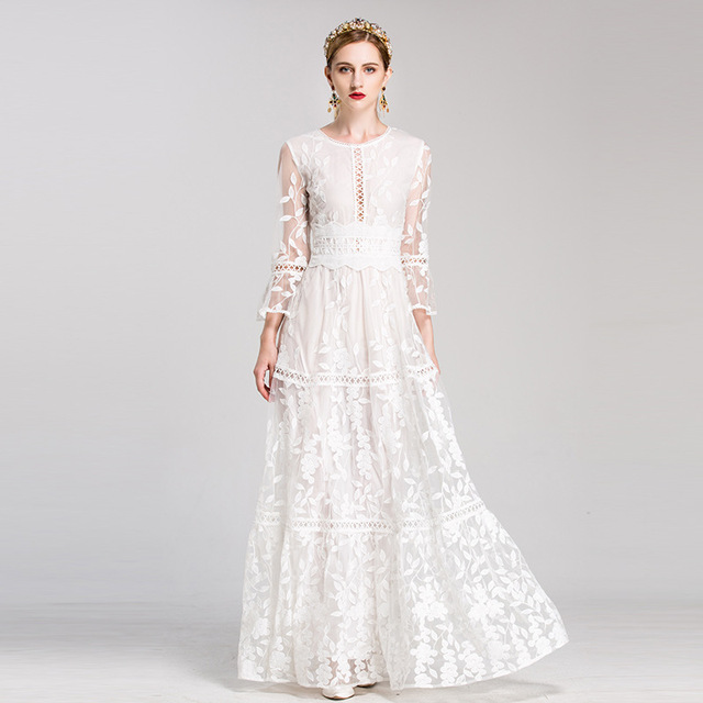 White Solid Embroidered Lace Luxury Dress