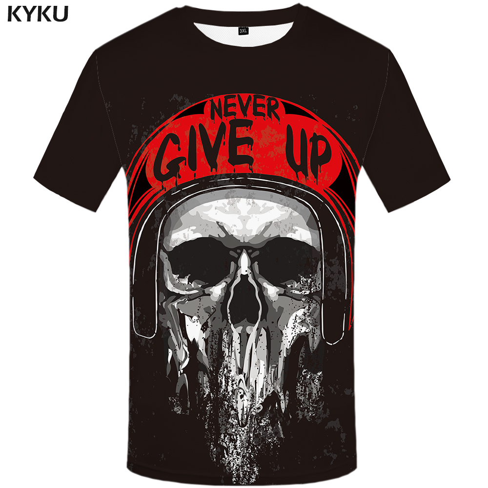 KYKU Brand Motorcycle T Shirt Skull Shirt Short Sleeve Mens Clothing Hip Hop Tshirt Streetwear 3d T-shirt Men 2018 Fashion New