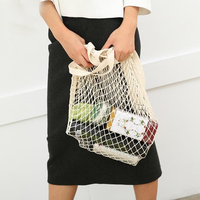 Net pano Reutilizáveis Frutas Vegetais Corda Mercearia Saco de Compras Casuais Bolsa de Ombro Shopper Tote do Algodão de Malha Tecido Líquido Women2.3