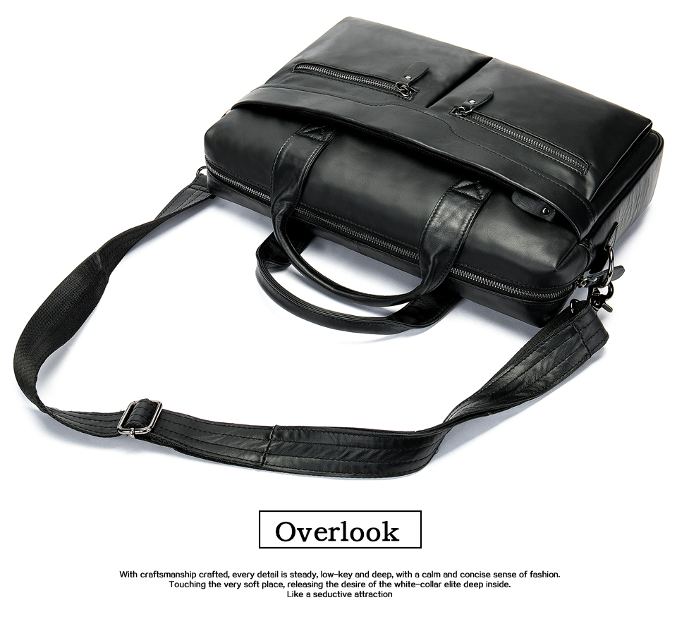 HTB1MpIAborrK1RkSne1q6ArVVXay WESTAL genuine leather bag for men's briefcase bussiness laptop bags for documents messenger handbags tote briefcase 9005