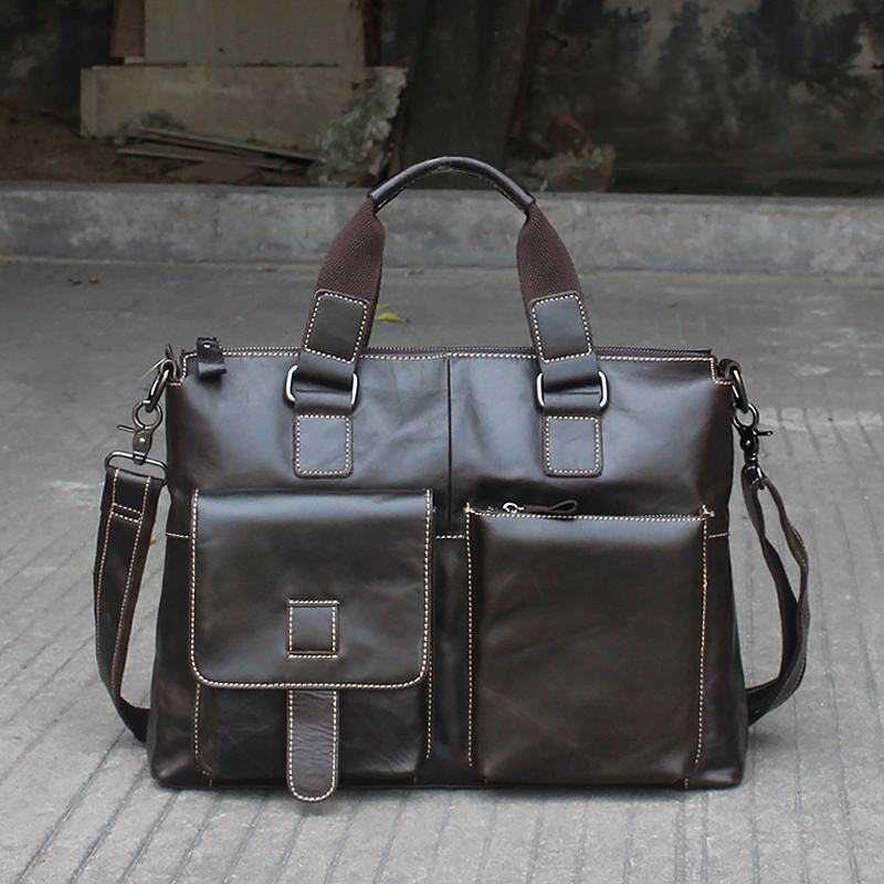 Luxury ชายกระเป๋าเอกสารผู้ชายหนังแท้ Mens ทนายความกระเป๋าเอกสารหนัง 14 แล็ปท็อป Messenger กระเป๋าสำนักงานสำหรับทำงานกระเป๋า 260-ใน กระเป๋าเอกสาร จาก สัมภาระและกระเป๋า บน   2