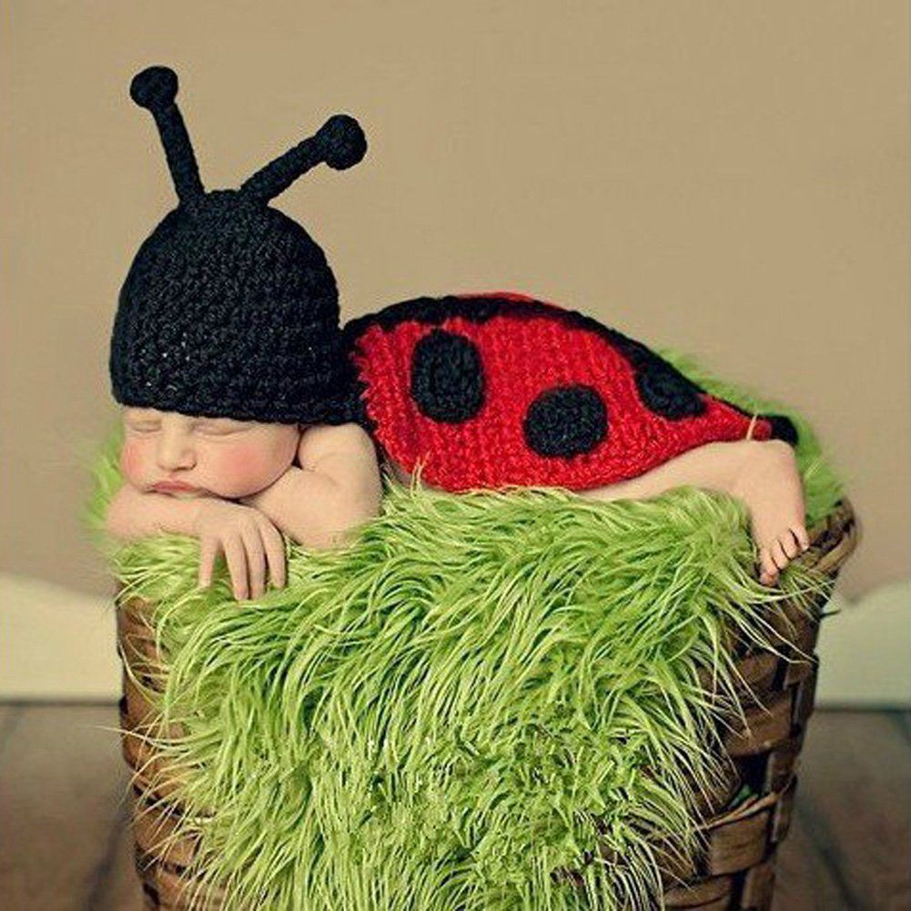 Home Fashion Unisex Newborn Boy Girl Crochet Knitted Baby Outfits Costume Set Photography Photo Prop-beetle gift Pattern Send Rand