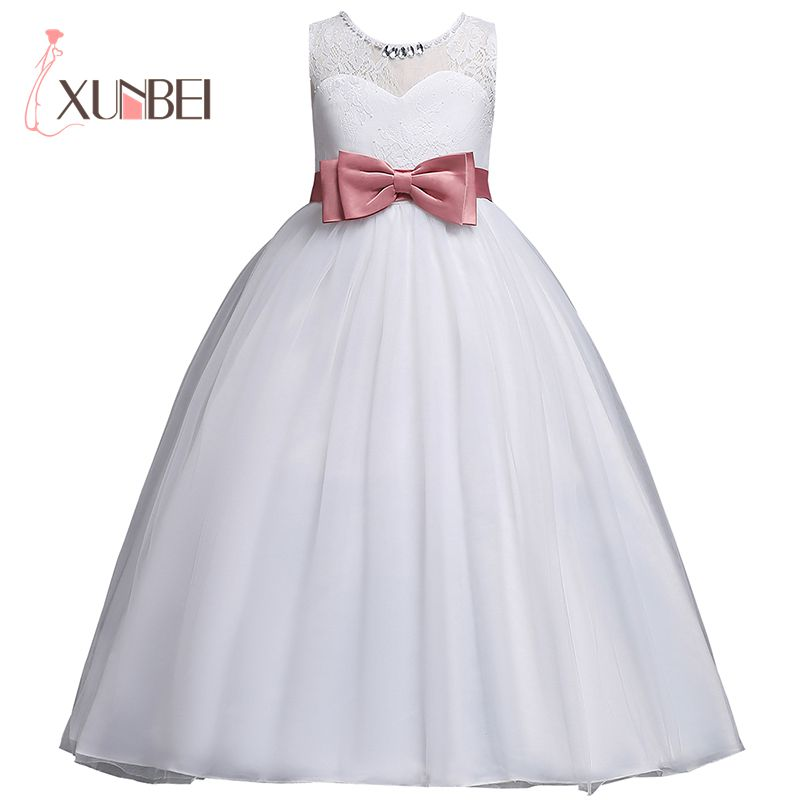 New Arrival Princess Lace Flower Girl Dresses 2019 Big Bow Ball Gown Girls Pageant Dresses First Communion Dresses Party Dress