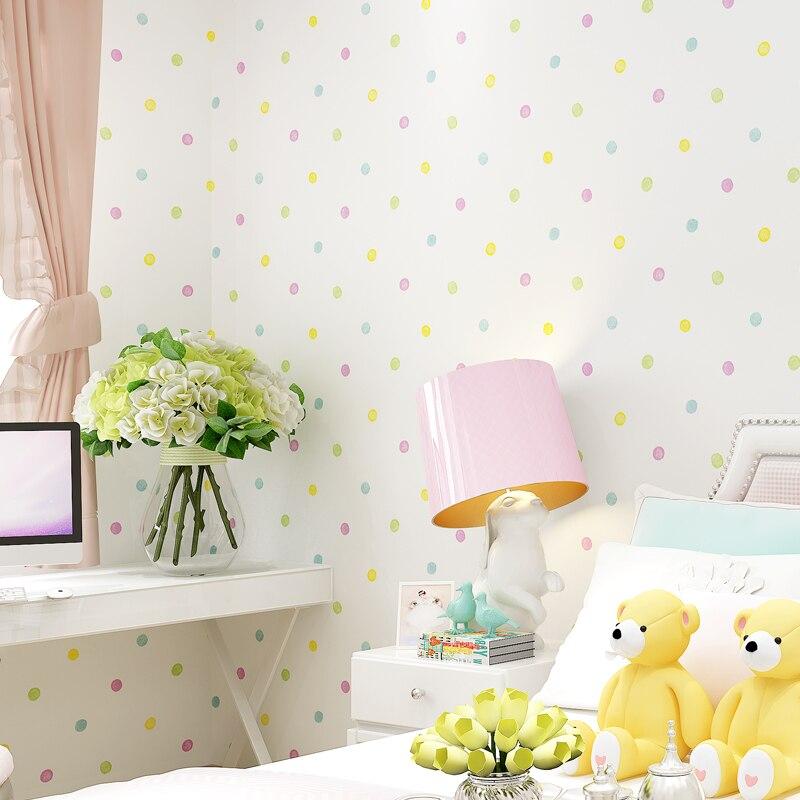 €26.35 32% de réduction|Petit papier peint Simple moderne de pois pour la  chambre d\'enfants papier peint Non tissé roule le décor à la maison de ...