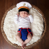 Baby Photography Clothing Infant Handmade Wool Weaving Marine Corps Modeling Costumes Newborns Photography Props