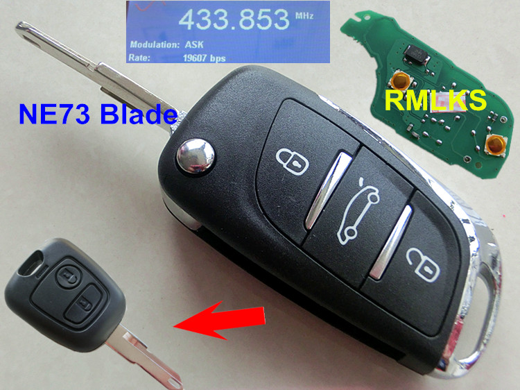 RMLKS DS Style 2 button Folding Flip Fit For Citroen C2 For Peugeot Remote Key Fob 433MHz PCF7961 ID46 Chip Uncut NE73 Blade