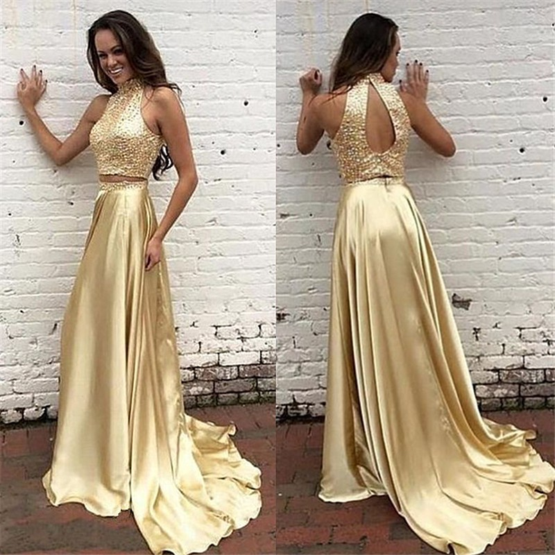 ba38ff6b2089 Gold Two Pieces Formal Evening Dress Long Women Sexy Keyhole Back High Neck  Sequins Prom Dresses 2016 New