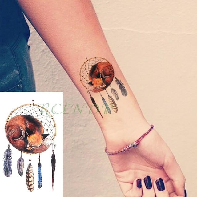 Dream Tatouage waterproof temporary tattoo sticker dreamcatcher fox fake tatto