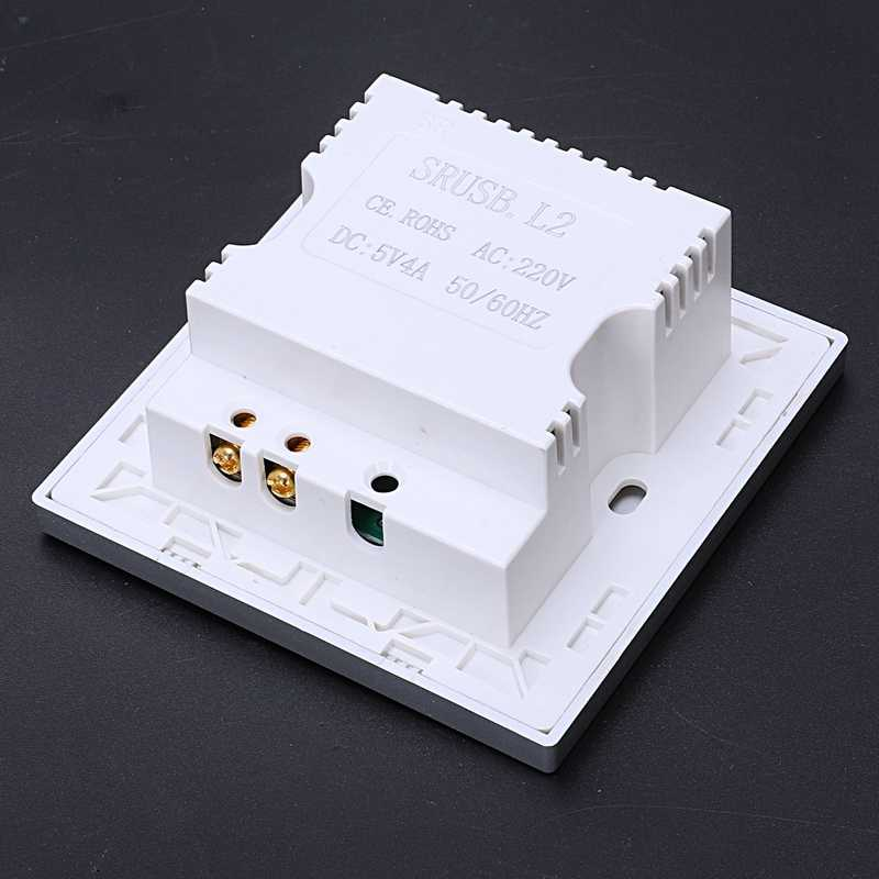 4-Port Quick Charger Home Use Wall Socket Power Usb Electrical Outlet 86Mm x 86Mm 4000Ma