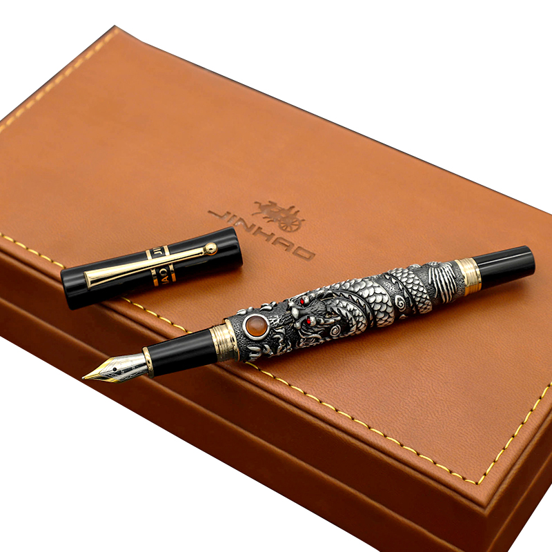 Luxury Jinhao 0.5mm Fountain Pen Fine Nib Dragon Ink Pens with A High-end Gift Box The Great Business Office Gift Stationery jinhao black and gold auspicious dragon embossed fountain pen with 0 5mm nib for gift pens free shipping
