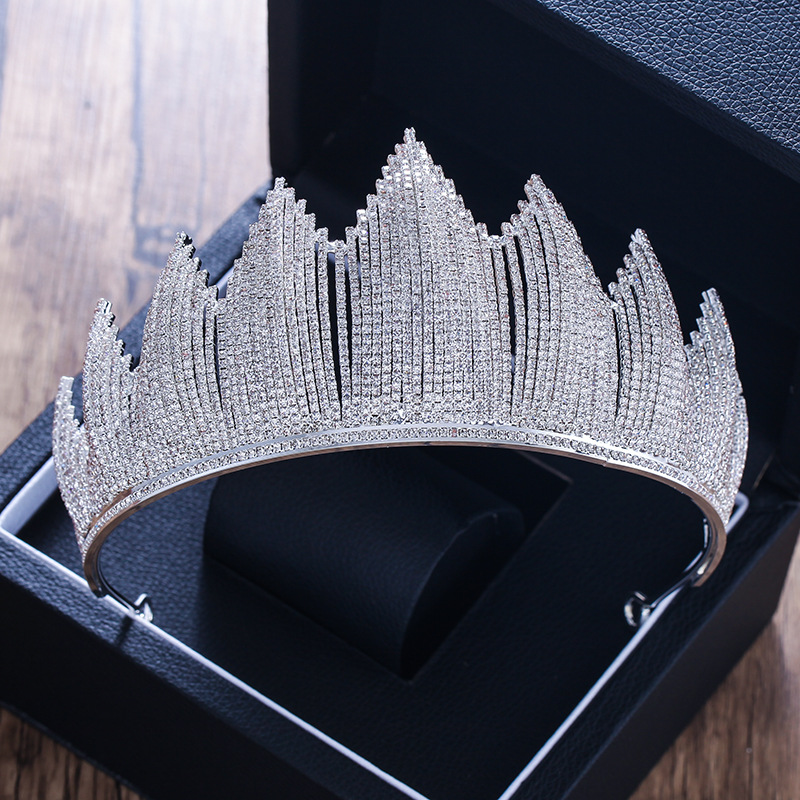 Luxury Trendy Full Rhinestone Crystal Tiara Big Crown For Wedding Bride Queen Headpiece Crown Wedding Bridal Hair AccessoriesLuxury Trendy Full Rhinestone Crystal Tiara Big Crown For Wedding Bride Queen Headpiece Crown Wedding Bridal Hair Accessories