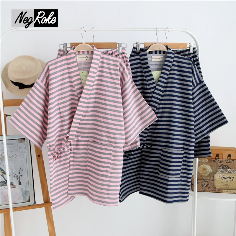 Summer 100% cotton couple short sleeves women sleepwear pajamas sets Japan kimono pyjamas simple pijama shorts women homewear