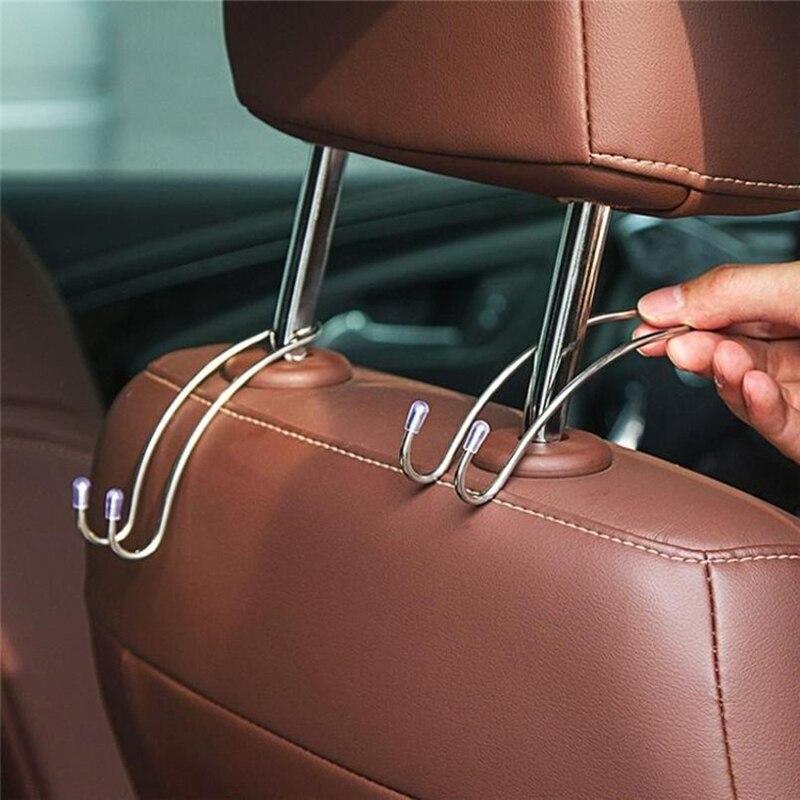 Gancho do assento de carro auto escondido encosto cabeça cabide para bolsa de compras saco de armazenamento casaco gancho acessórios do carro gancho organizador
