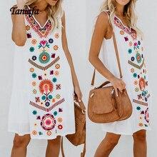 Женские модные пляжные платья без рукавов с v-образным вырезом, летние свободные винтажные Вечерние Платья с цветочным принтом размера плюс