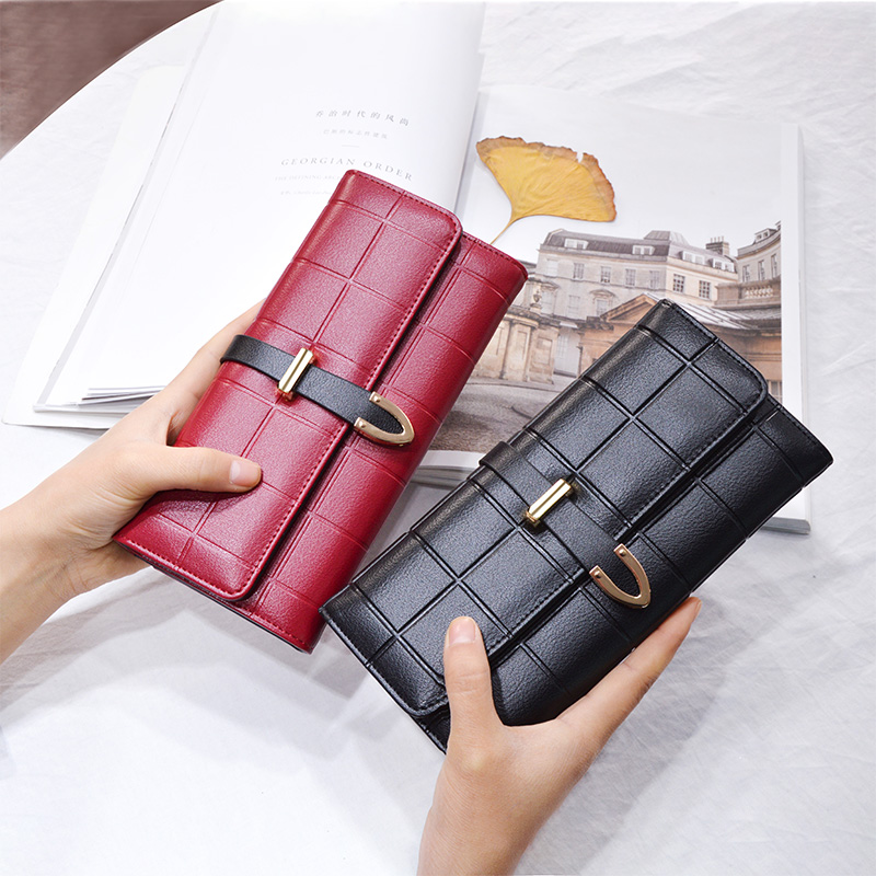 цена на AOEO Female Purse Long Plaid 8 Holder Serpentine Buckle High Capacity Wallet for Women and Girls Wallets ladies Money Phone Bag