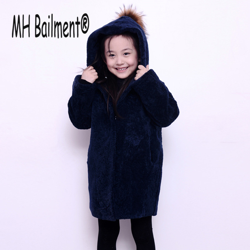Children Real Sheepskin Fur Coats 2017 Autumn Winter Baby Girls Warm Thick Long Coat Full Sleeve Kids Outerwear Blue Clothing winter fashion kids girls raccoon fur coat baby fur coats