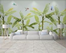 beibehang Custom fashion papel de parede wallpaper modern minimalist fresh hand-painted Southeast Asian plants forest background