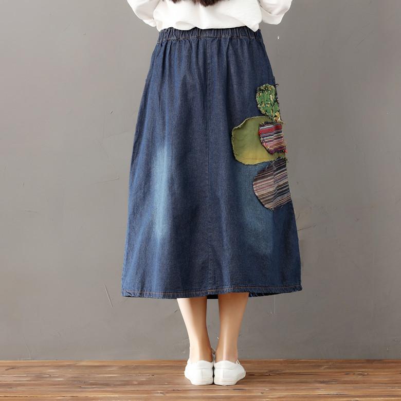3b4d4bf15a Bohemian Pleated Falda vaquera mujer Tule rok Jeans Suspenders ...