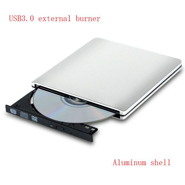 Caso de alumínio USB3.0 External DVD burner drive Óptico/swap disco Rígido Externo burner drive Óptico Notebook Drive Prata