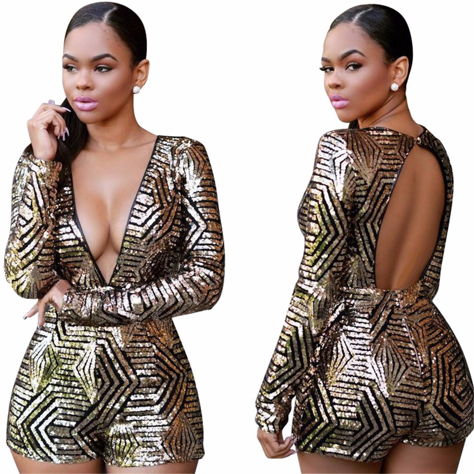 ABYABYGO Sexy Overalls Rompers Women Bodycon Jumpsuit Shorts Sequin Long Sleeve Catsuit Salopette Jumpsuit Beyonce Body Suit 5