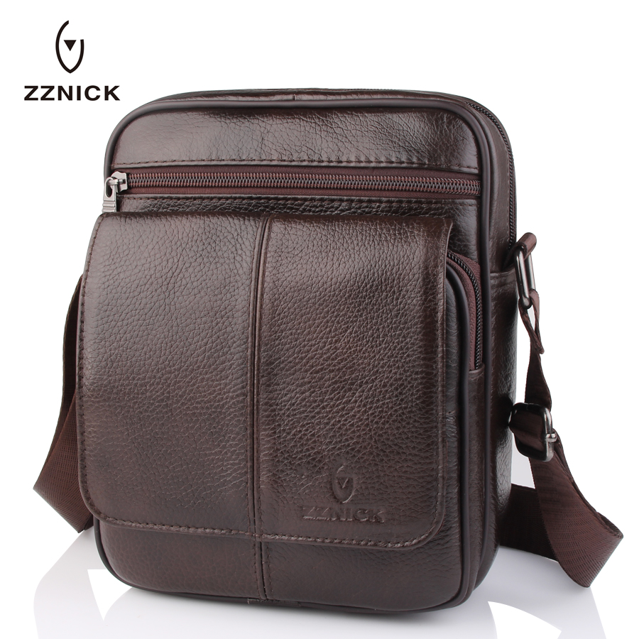 ZZNICK 2018 New Men's Small Shoulder Bag Genuine Cowhide Leather Messenger Bags For Men Casual Small Crossbody Bag Travel Bags