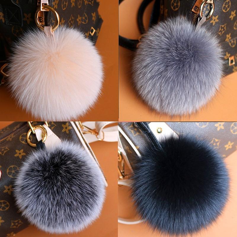 12cm Genuine Fox Fur Pom Poms Women Bag Bug Monster Bag Charm Bugs Pompom Keychain Luxury Pendant F315