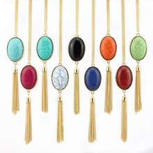 GET IT GIRL Geometric Oval  Natural Stone Pendant And Tassel Necklace 2016 Best Selling Boho Necklace Fashion Jewelry