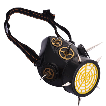 Steampunk Rivets Mask Hip-hop Halloween Party Masks Motorcycle Cyber Respirator 1 Canister I Valve Mask With Gears & Spikes 1