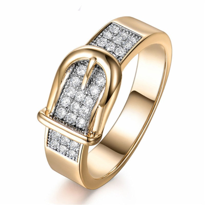 6mm Creative Gold Belt Rings Stainless Steel for Women