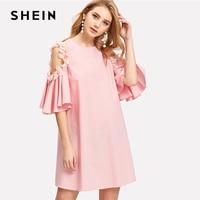 SHEIN Pearl Beading Applique Embellished Cold Shoulder Dress Pink Round Neck Short Sleeve Plain Dress 2018
