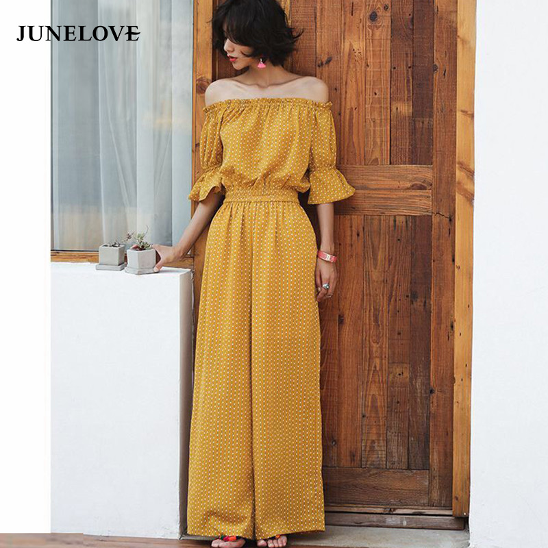 JuneLove 2018 summer bohemian women jumpsuit holiday beach drapped ladies jumpsuits wide leg casual female rompers
