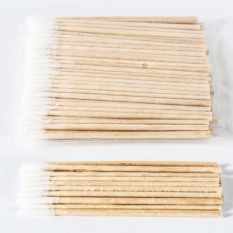 100 bastoncillos de algodón de unids/bolsa hisopos de 7cm de mango de madera de maquillaje de tatuaje de maquillaje