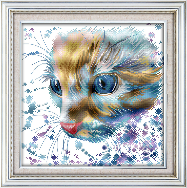 Water colour cat cross stitch