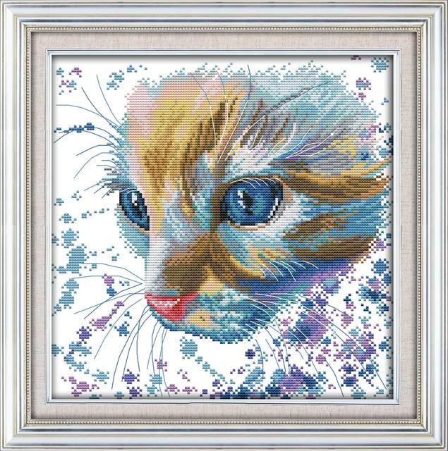 Water colour cat cross stitch