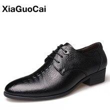 Роскошные мужские классические полуботинки из натуральной кожи, британский бизнес, шнуровка, Крокодиловая Нежная мужская официальная Свадебная обувь Весна